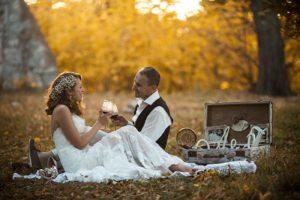 newlyweds catskill wedding venue in autumn